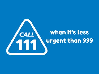 NHS 111 - Call 111 when its less urgent than 999 - Blue Background